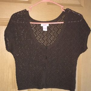 Cute Candies jrs crop crocheted cardigan Brown szL